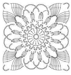 Irish Crochet Flower Motif I'm Crochet Motif Patterns, Granny Square Crochet Pattern, Crochet Blocks, Crochet Diagram, Crochet Chart, Crochet Squares, Thread Crochet, Crochet Granny, Crochet Designs