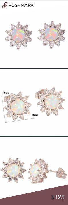 Fire opal star earrings Studs. Fire opal and white topaz(lab) Jewelry Earrings