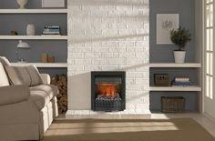 В этом проекте применён классический очаг Danville Black с эффектом пламени Opti-Myst от Dimplex. Стилизованные под старину массивные решетки, строгий чёрный цвет и крайне реалистичный эффект пламени органично вписываются в простой интерьер, создавая полную иллюзию настоящей дровяной печи.