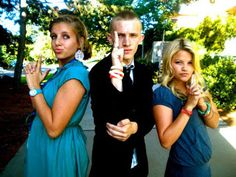 Flashback photo of Witney Carson, her cousin, Ally, and some random guy doing the Charlie's Angels pose at EFY.