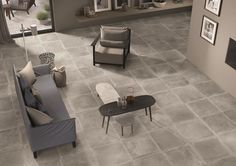 Dust by Provenza is the stone-effect ceramic collection with a vintage stone effect, velvety to the touch: decors and sizes combine to create unforgettable mixes Grey Floor Tiles, Grey Flooring, Gray Floor, Living Area, Living Spaces, Palette, Dust Collection, Minimalist, House Design