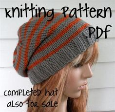 Knitting Pattern, Knit Hat Pattern, Easy Slouchy Beanie Beret, Unisex, winter, ski, teen. $3.50, via Etsy.