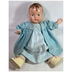 1925 Effanbee 18' Baby Evelyn Composition Doll -- Rare Painted Eye