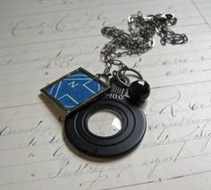 Blueprint Soldered Monocle Long Necklace by ThatOldBlueHouse2