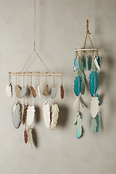 Feather and driftwood wind chime mobile