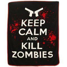 Keep Calm and Kill Zombies Raschel Throw