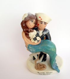 Sailor and Mermaid Cake Topper by gingerbabies.deviantart.com on @deviantART