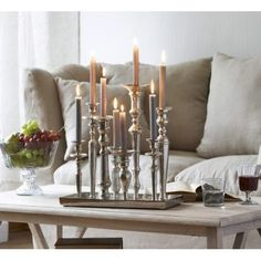 Kerzenständer-Tablett Gorbio aus Aluminium