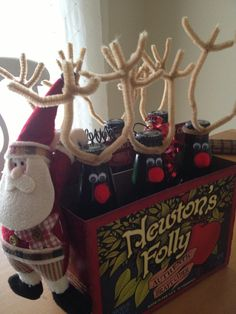 adult beverage makeover w/Santa.  holiday, reindeer, very easy!
