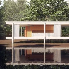 Farnsworth House, Plano, Illinois was designed and built by architect Mies Van Der Rohe in Unprecedented in its day, the glass and steel-framed house remains one of the most famous examples of domestic modernist architecture. Space Architecture, Amazing Architecture, Contemporary Architecture, Ludwig Mies Van Der Rohe, Casa Farnsworth, Walter Gropius, Villa, Interior Exterior, Beautiful Buildings