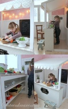 play kitchen cafe, imagine little menu and wooden play coins!
