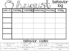 Individual Student Behavior Chart Printable  These Classroom