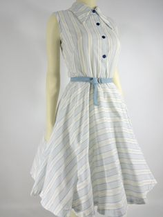 60s Blue and White Full-Circle Cotton Shirtwaist Dress. b: 38, w: 27.5