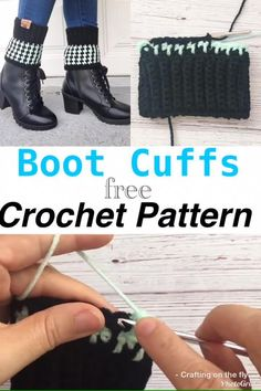 Easy Crochet Socks, Crochet Boots, Crochet Boot Cuff Pattern, Crochet Blanket Patterns, Two Boots, Leather Label, Short Boots, Knitting Yarn, Houndstooth