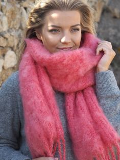 Balmuir Kid mohair scarf in shade Coral