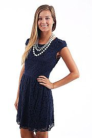 Graced With Lace Dress, navy