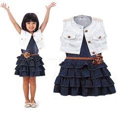 Barato 2015 bebê menina crianças vestido ocasional roupa jaqueta de roupas de algodão + jeans em camadas criança tutu vestido para meninas com belt 36, Compro Qualidade Vestidos diretamente de fornecedores da China:                         Especificações do produto                    Moda bebê menina crianç