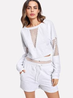 Shop Fishnet Panel Crop Pullover With Shorts online. SheIn offers Fishnet Panel Crop Pullover With Shorts & more to fit your fashionable needs.تو ر Sport Fashion, Teen Fashion, Fitness Fashion, Fashion Outfits, Fall Fashion, Travel Outfits, Fashion Clothes, Womens Fashion, Athleisure Outfits