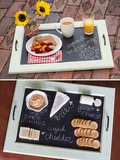 upcycle an old cabinet door into a chalkboard serving tray So You Think You're Crafty