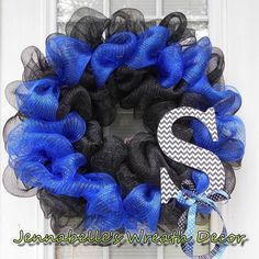 Thin Blue Line Wreath, Mesh Wreath, Law Enforcement, ACU Wreath, Chevron Monogram Letter by JennaBelles on Etsy https://www.etsy.com/listing/198780386/thin-blue-line-wreath-mesh-wreath-law