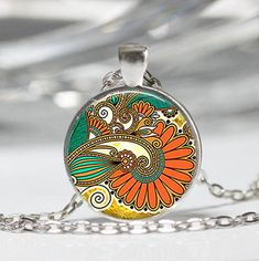 Abstract Feathers Cabochon Necklace