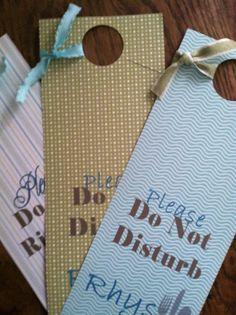 Set of Three Baby Do Not Disturb Door Hangers by HomeBakd on Etsy, $5.50