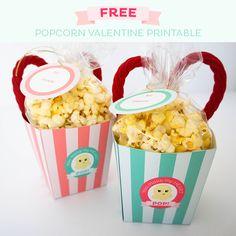 Free Popcorn Valentine Treat Boxes