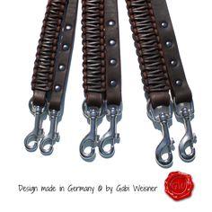 Lederleine 3-fach verstellbar 2m Leder PUR in braun