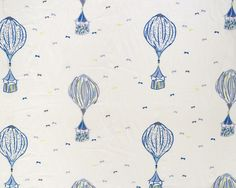 Hot Air Balloons Fabric by Aldeco Air Ballon, Hot Air Balloon, Blue And White Fabric, Pattern Names, Furniture Upholstery, Kids Decor, Decor Ideas, Fabric Design, Balloons