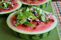 Basil-Prosciutto Salad on Watermelon Plates