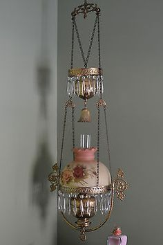 Antique Hanging Oil Kerosene Lamp with Roses Shade Smoke Bell with Thick Brass | eBay