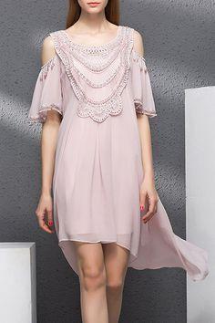 Beading Cold Shoulder Dress