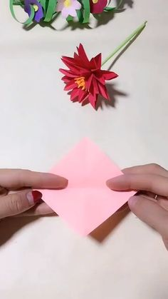 DIY Handmade Paper Flower Use color paper to make a handmade fl. DIY Handmade Paper Flower Use color paper to make a handmade flower. It is very beautiful, Save it, try . Paper Flowers Craft, Paper Crafts Origami, Flower Crafts, Diy Flowers, Paper Crafting, Flower Paper, Flower Diy, Origami Flowers, Flowers With Paper