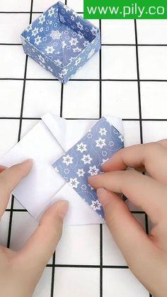 Instruções Origami, Origami Videos, Origami And Kirigami, Paper Box Tutorial, Origami Box Tutorial, Paper Oragami, Paper Crafts Origami, Paper Cup Crafts, Paper Vase