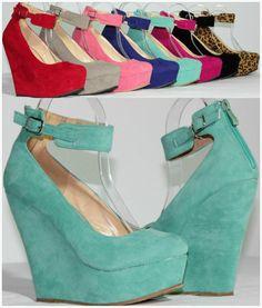 NEW Women's Round Toe Fashion High Heel Platform Ankle Strap Zipper Wedge Pumps