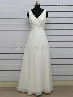 Wholesale Gift 1246 Custom Made A-Line V-Neck Ruche Floor-Length Chiffon Wedding Reception Dress, Free shipping, $167.99-285.59/Piece   DHgate