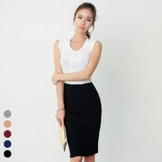 Band-Waist Pencil Skirt from #YesStyle