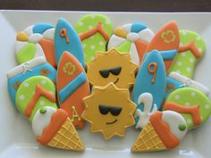 Summer Themed Decorated Sugar Cookies by DolceDesserts on Etsy, $30.00 surf ice cream cone beach ball
