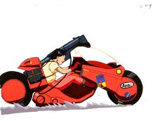 Akira / Cel / x Kaneda lands after launching off an exploding ramp to escape Tetsuo's telekinetic powers. Ken Street Fighter, Kaneda Bike, Mamoru Oshii, Akira Anime, Katsuhiro Otomo, Neo Tokyo, Stunt Bike, Power Bike, Black And White Cartoon
