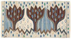 TEXTILE. Blå Crocus. Tapestry weave variant (Gobelängvariant).