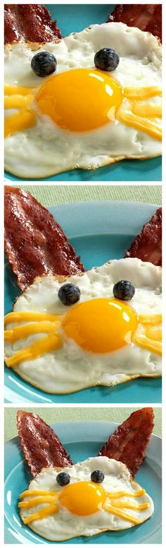 Funny Bunny Eggs ~ With bacon ears and blueberry eyes... Popular with the young folk, but don't be surprised to see the grown-ups smiling too.