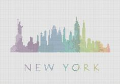 Cross Stitch Pattern New York City por ZGCROSSSTITCHPATTERN en Etsy