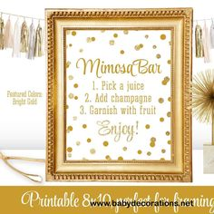 Mimosa Bar Party Sign - Gold Glitter Baby or Bridal Shower Ideas - Monograms and Mimosas Party - Birthday Party - Printable 8x10 Table Sign - http://www.babydecorations.net/mimosa-bar-party-sign-gold-glitter-baby-or-bridal-shower-ideas-monograms-and-mimosas-party-birthday-party-printable-8x10-table-sign.html