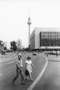 Marx-Engels-Platz and the Palast der Republik in East Berlin in the summer of 1989. The Fernsehturm (TV Tower) is visible in the background