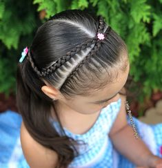 Crossed over Dutch lace braids 🌸🌸 _____________________________________________________________ Trenzas cruzadas y Coletas 🌸🌸 _____________________________________________________________ Girls Hairdos, Lil Girl Hairstyles, Girls Natural Hairstyles, Princess Hairstyles, Girls Braids, Pretty Hairstyles, Braided Hairstyles, Natural Hair Styles, Long Hair Styles