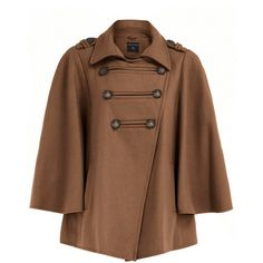 Rust military button cape (385 MAD) ❤ liked on Polyvore featuring outerwear, coats, jackets, tops, cape, coats &amp jackets, women's outerwear, dorothy perkins, brown coat and cape coat