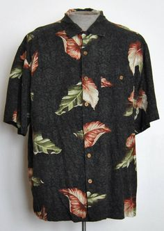 Island Republic Shirt XL Mens Hawaiian Gray Floral Silk Blend Short Sleeve #IslandRepublic #Hawaiian free shipping Buy Now  $14.99
