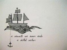Ship & anchor tattoo design.