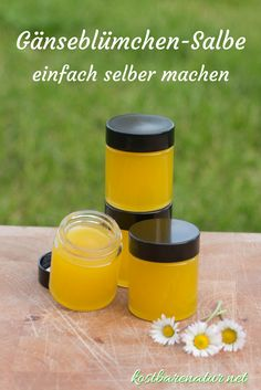 Daisy ointment - balm for skin and soul- Gänseblümchensalbe – Balsam für Haut und Seele The healing daisy ointment is quickly made from simple ingredients and saves you having to buy expensive wound and healing ointments. Vaseline, How To Clean Humidifier, Diy Beauty, Beauty Hacks, Daisy, Natural Cosmetics, At Home Workouts, The Balm, Skin Care