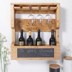 Wooden Wine Bottle Holder, Wood Wine Racks, Wine Rack Wall, Wine Glass Holder, Wine Bottle Holders, Whisky Regal, Personalized Wine Bottles, Personalised Wine, Pallet Wine